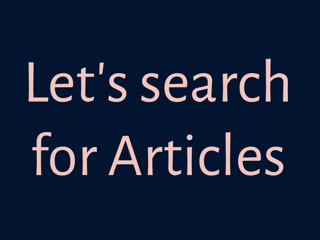 Let's search for Articles