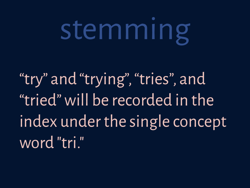"""stemming """"try"""" and """"trying"""", """"tries"""", and """"trie..."""