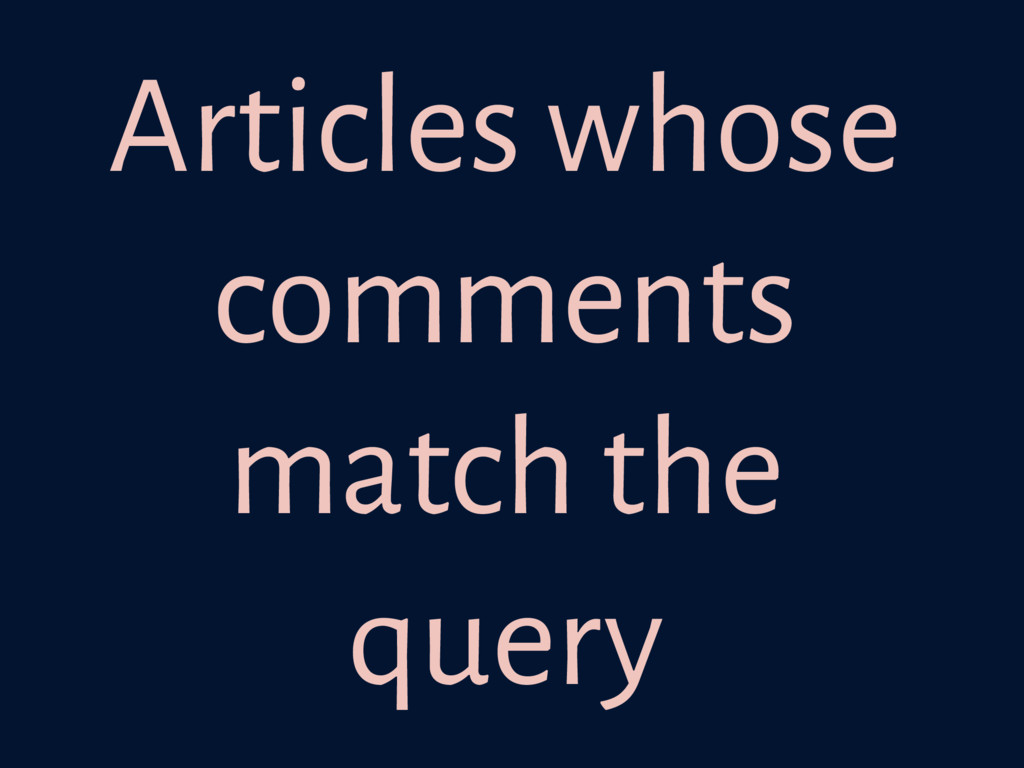 Articles whose comments match the query