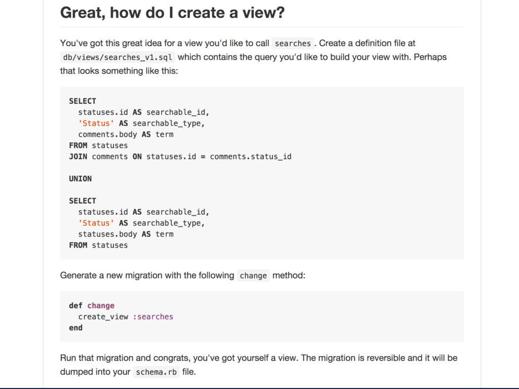 [show how scenic gets migrations from view.sql ...