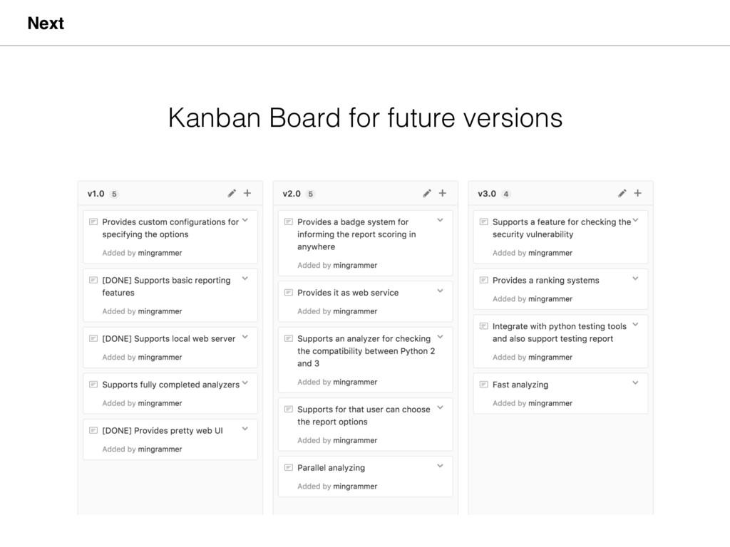 Next Kanban Board for future versions