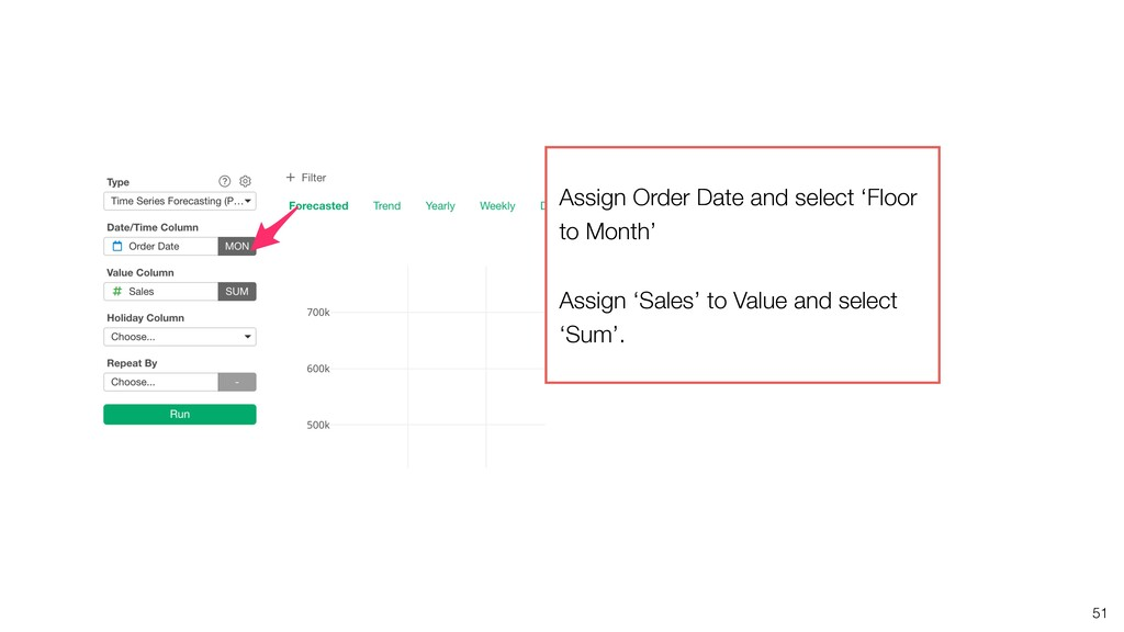 51 Assign Order Date and select 'Floor to Month...