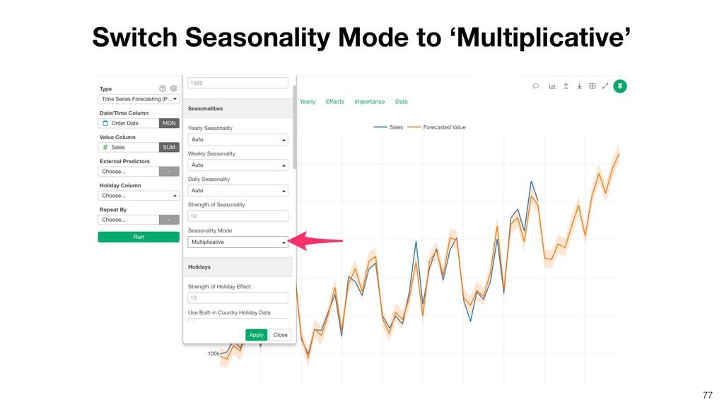 Switch Seasonality Mode to 'Multiplicative' 77