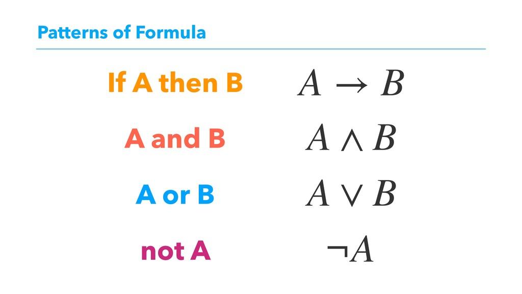 Patterns of Formula If A then B A and B A or B ...