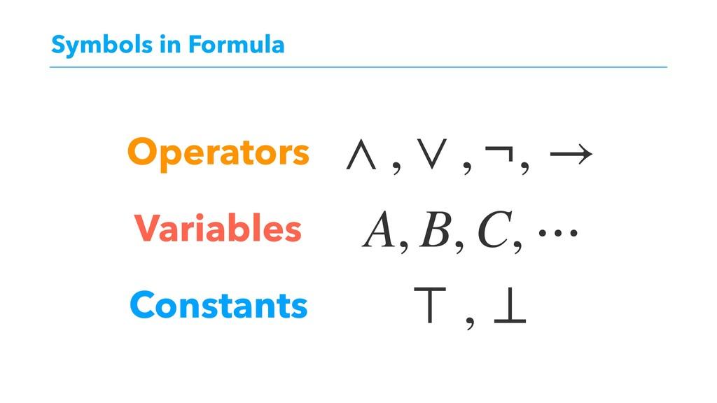 Symbols in Formula Operators Variables Constant...