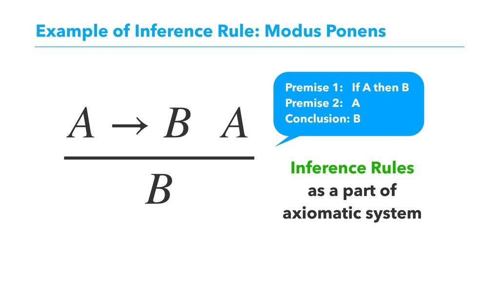 Example of Inference Rule: Modus Ponens A → B A...
