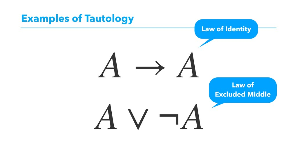 Examples of Tautology A → A Law of Identity A ∨...
