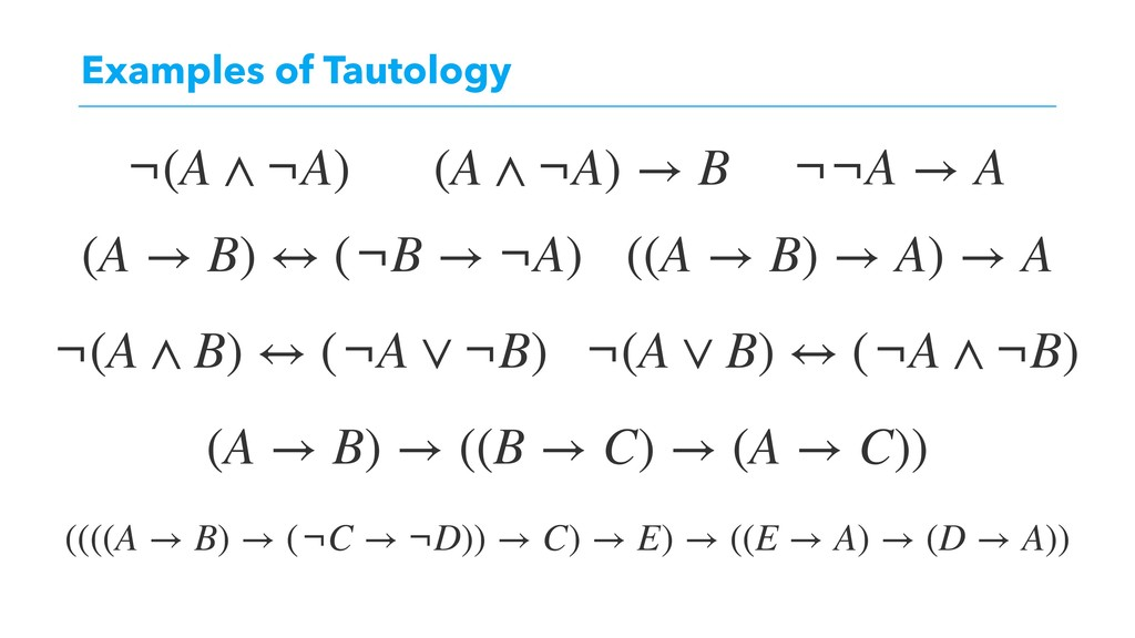 Examples of Tautology (A → B) → ((B → C) → (A →...