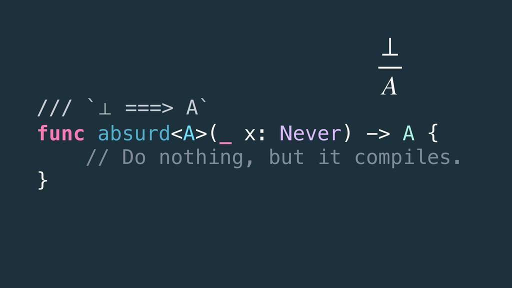 /// `⊥ ===> A` func absurd<A>(_ x: Never) -> A ...