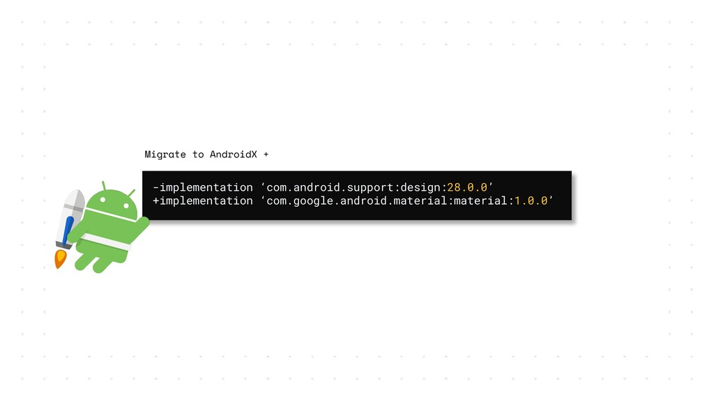 -implementation 'com.android.support:design:28....
