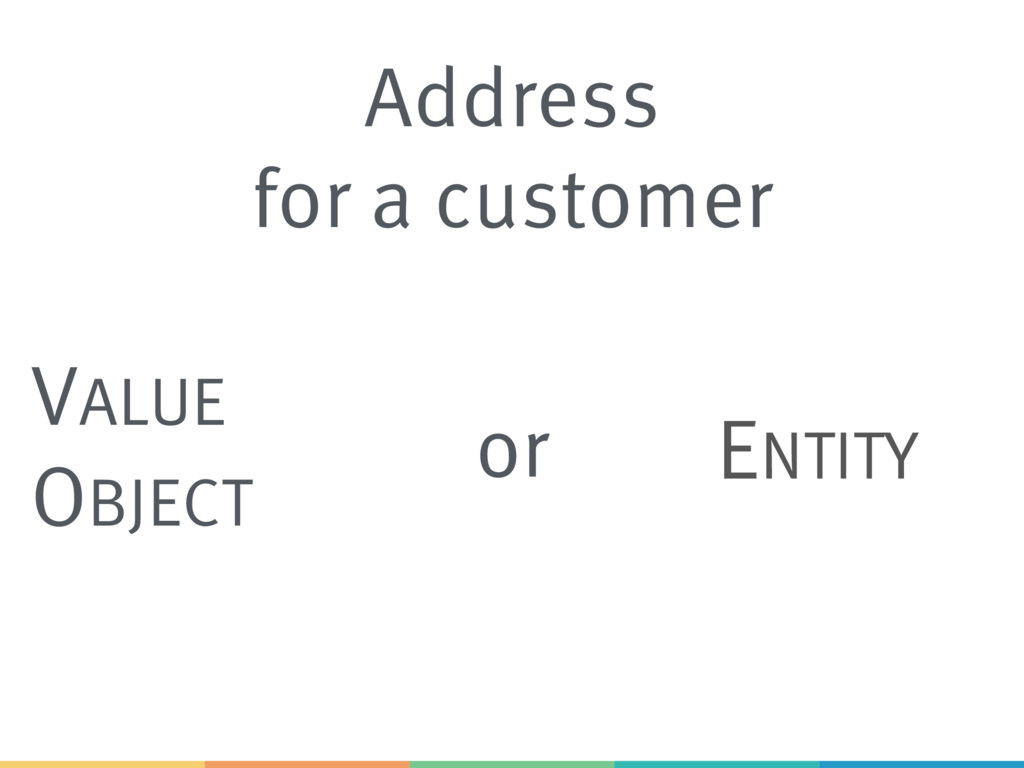 Address for a customer VALUE OBJECT ENTITY or