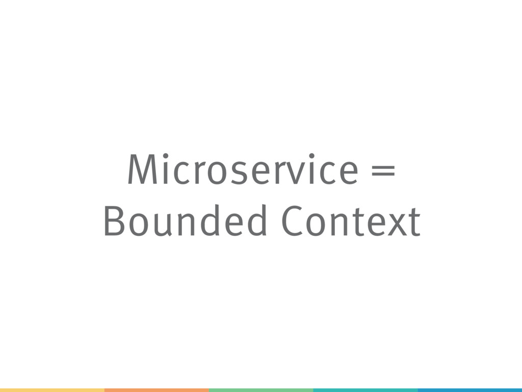 Microservice = Bounded Context