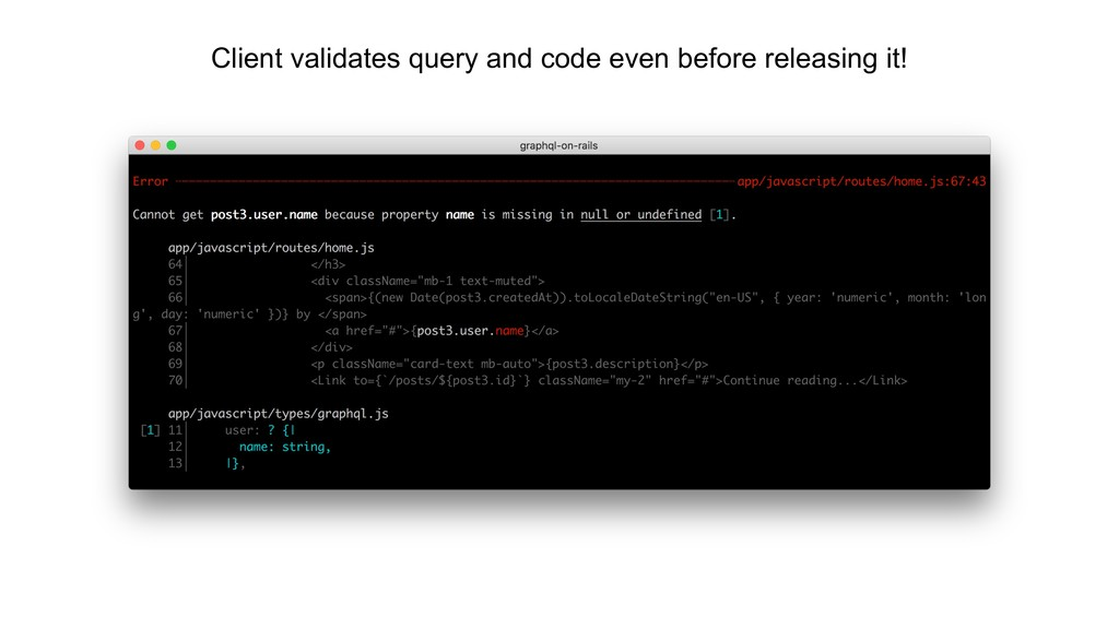Client validates query and code even before rel...