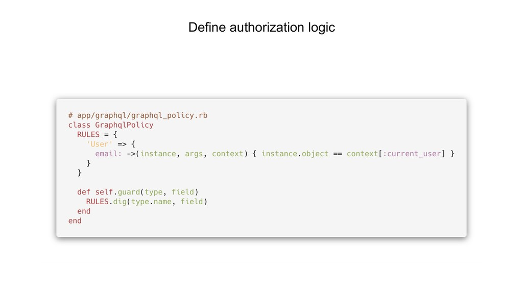 Define authorization logic