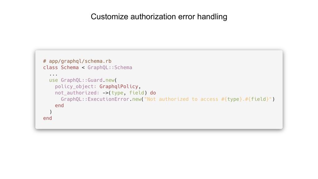 Customize authorization error handling
