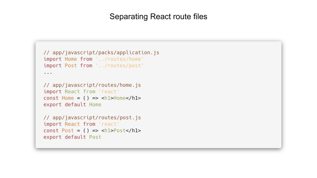Separating React route files