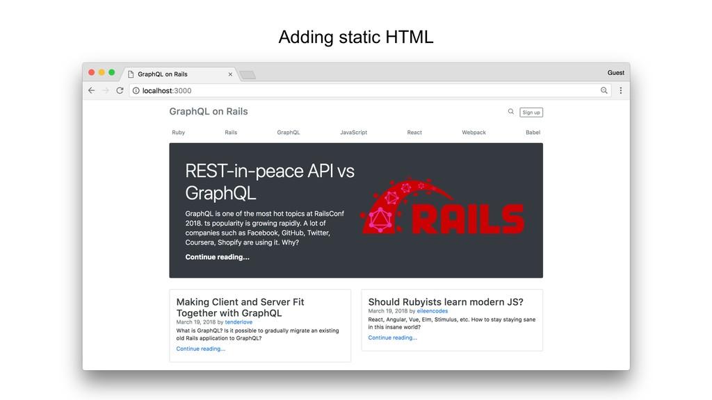 Adding static HTML