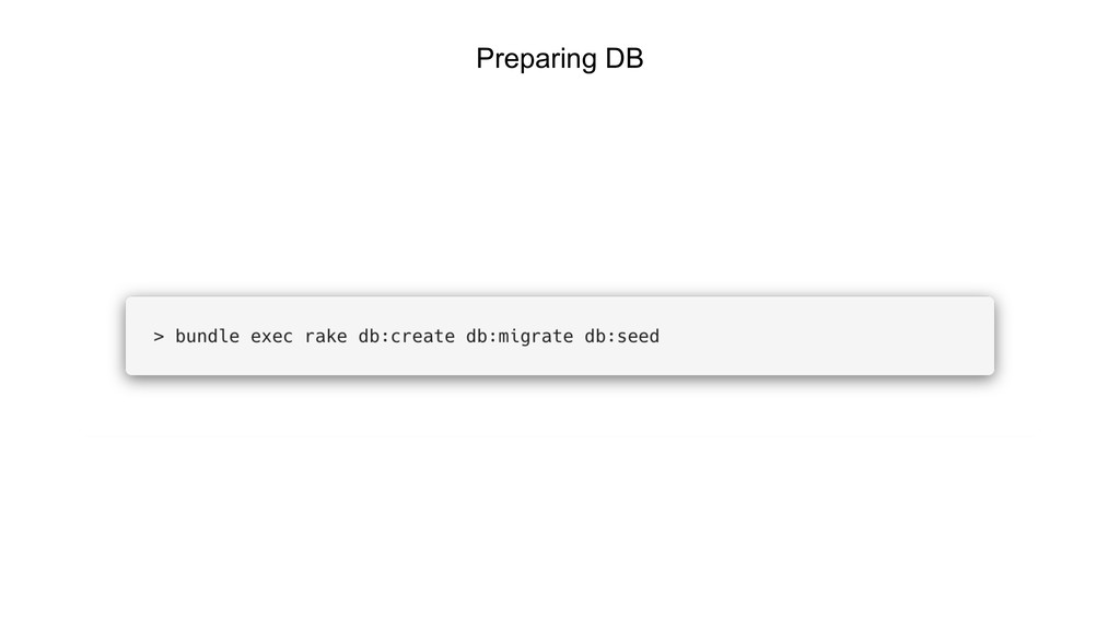 Preparing DB