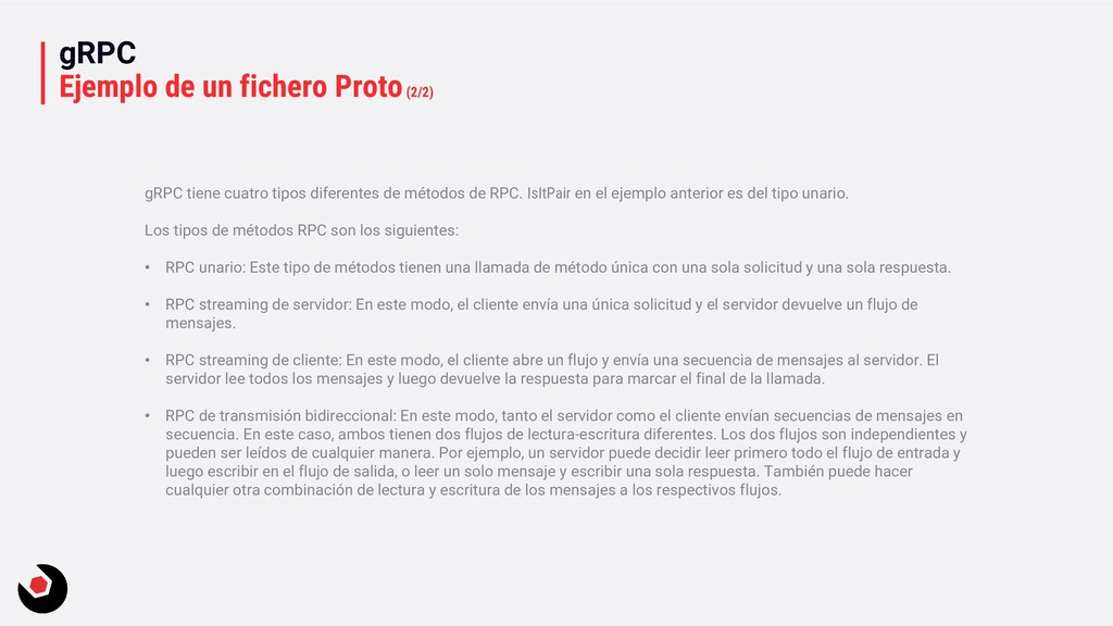 gRPC Ejemplo de un fichero Proto(2/2) gRPC tien...