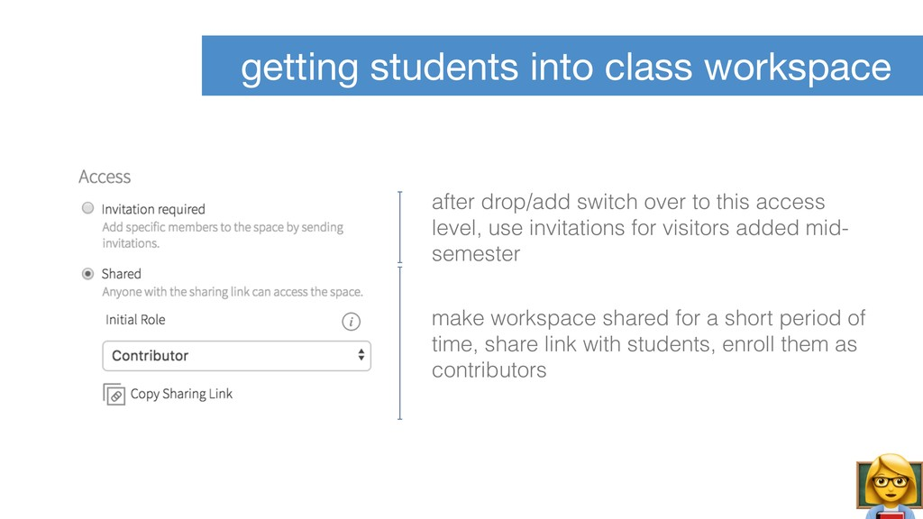 getting students into class workspace make work...