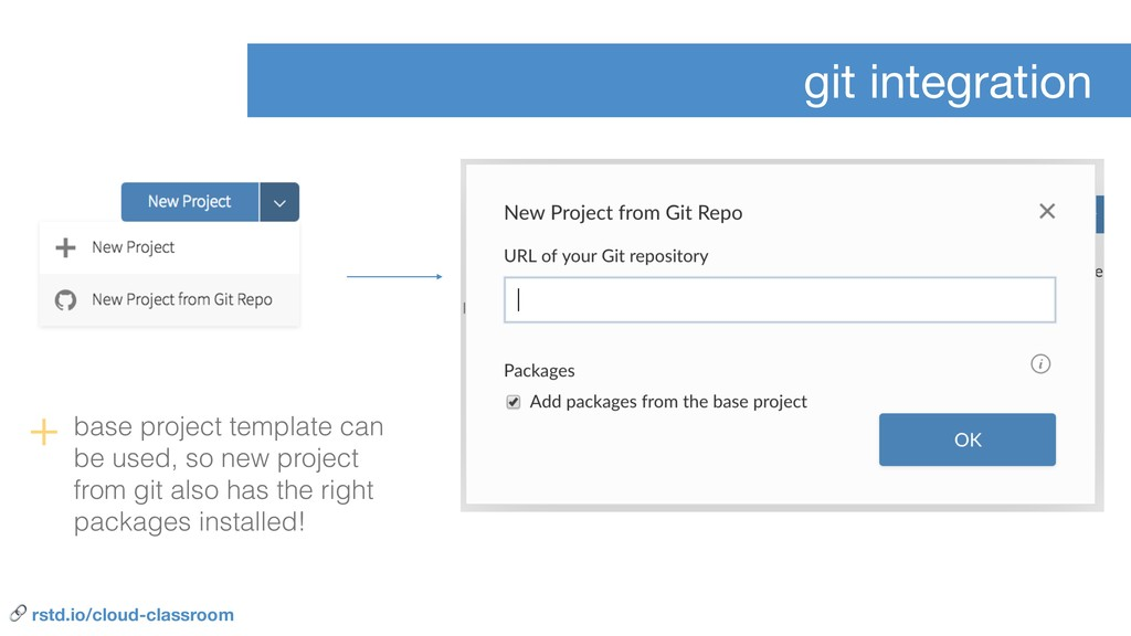 git integration + base project template can be ...