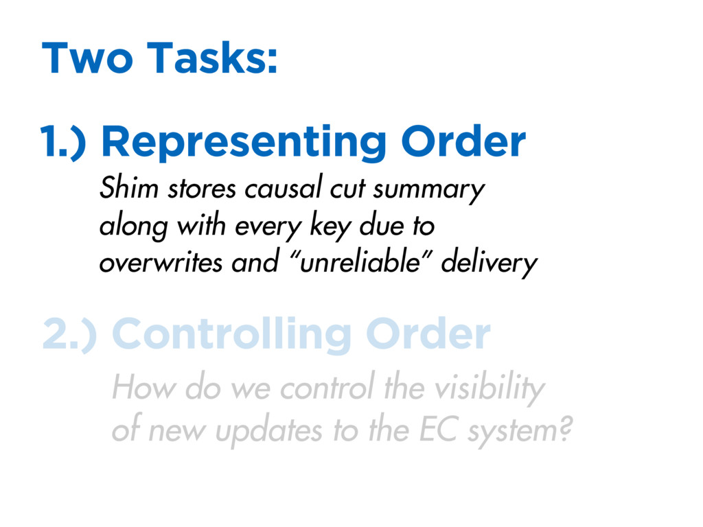 Two Tasks: 1.) Representing Order 2.) Controlli...