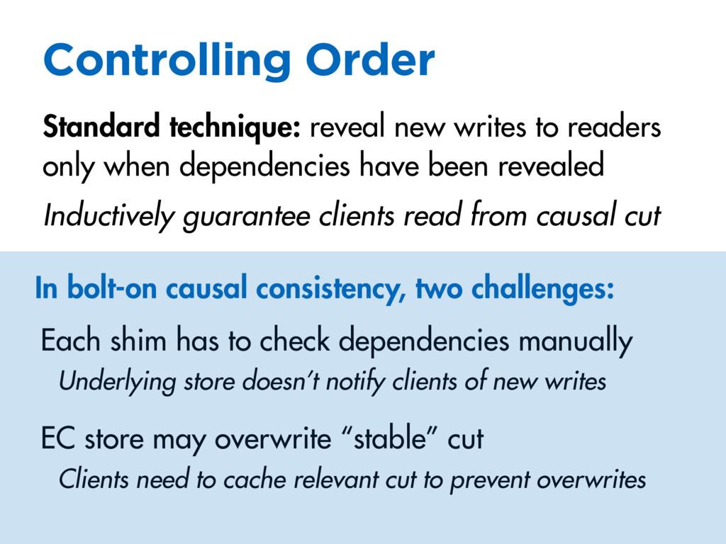 Controlling Order Standard technique: reveal ne...
