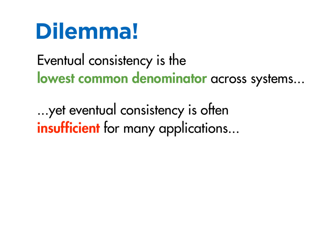 Dilemma! Eventual consistency is the lowest com...