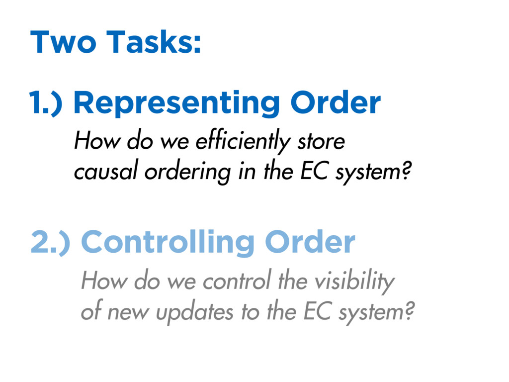 1.) Representing Order Two Tasks: How do we eff...