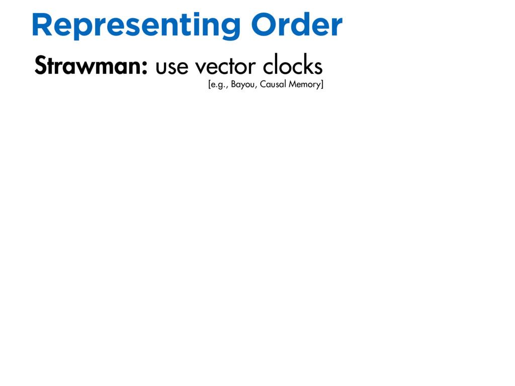 Strawman: use vector clocks Representing Order ...