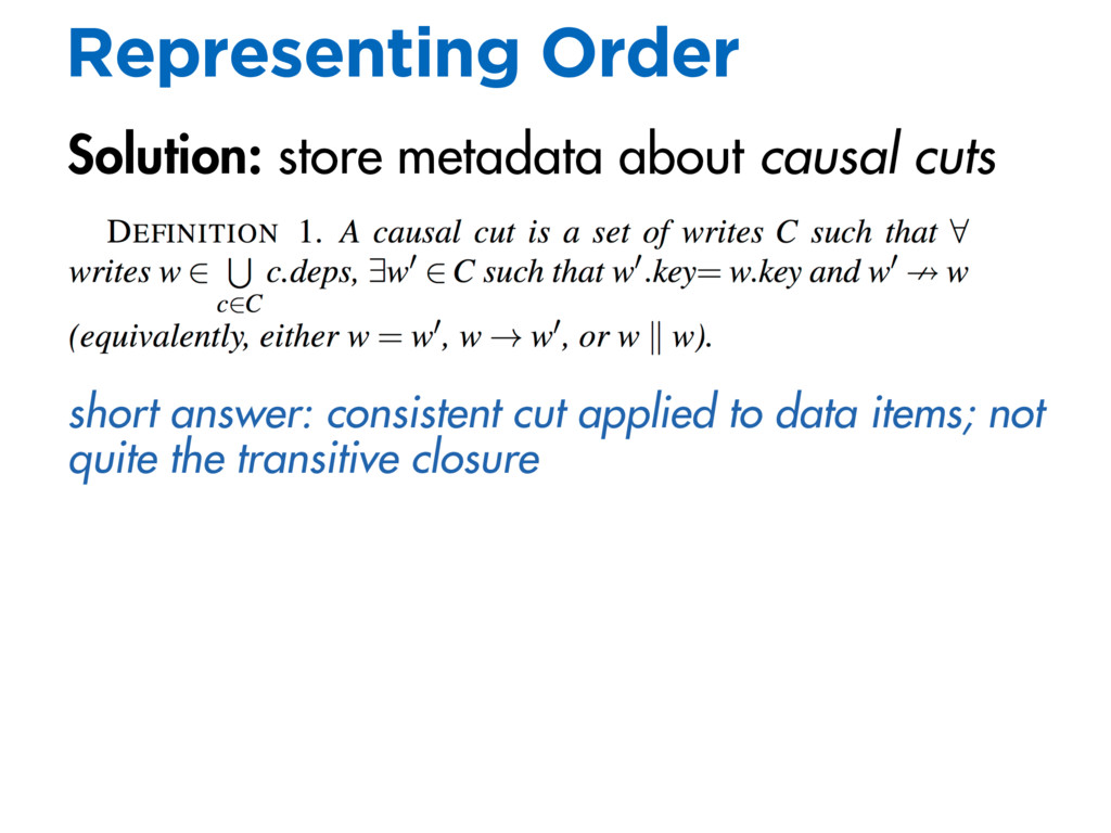 Representing Order Solution: store metadata abo...