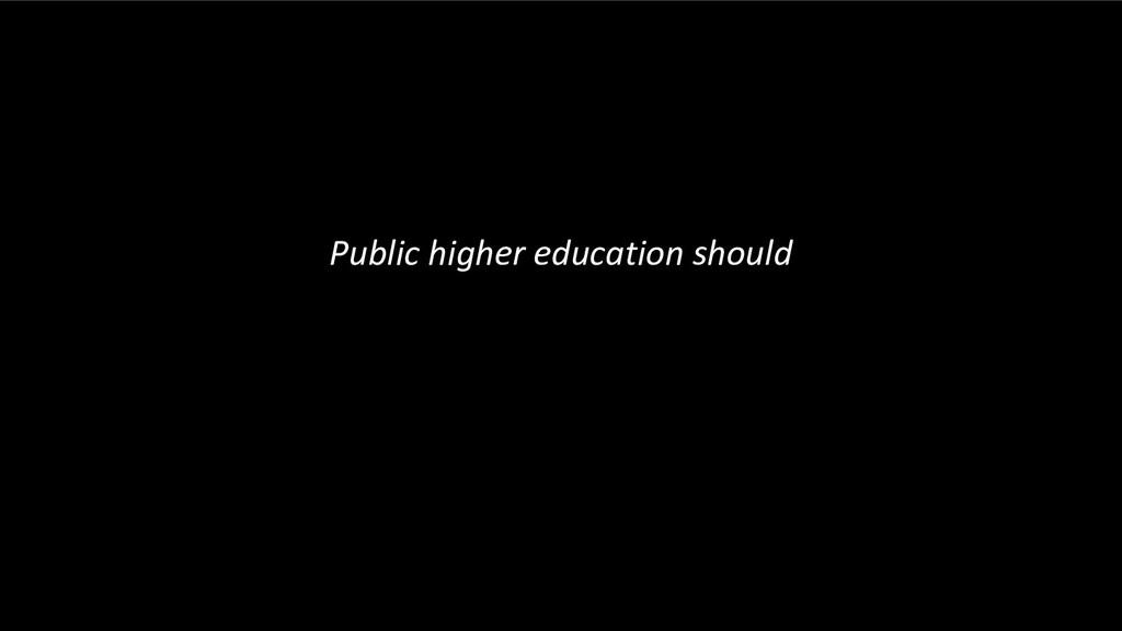Public higher education should