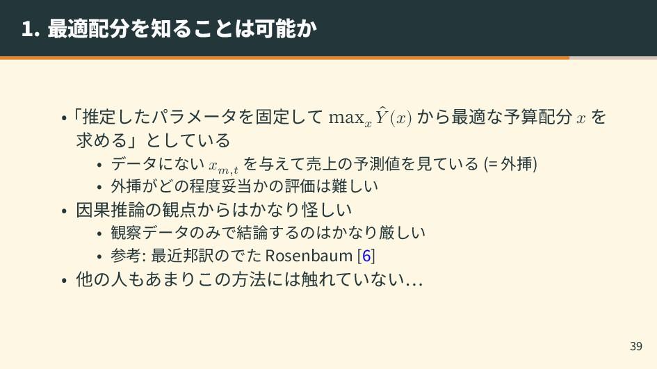 1. 最適配分を知ることは可能か •「推定したパラメータを固定して max 𝑥 ̂ 𝑌 (𝑥)...