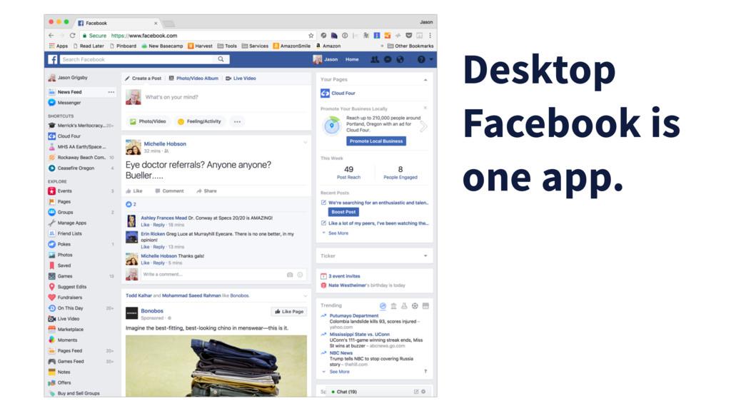 Desktop Facebook is one app.