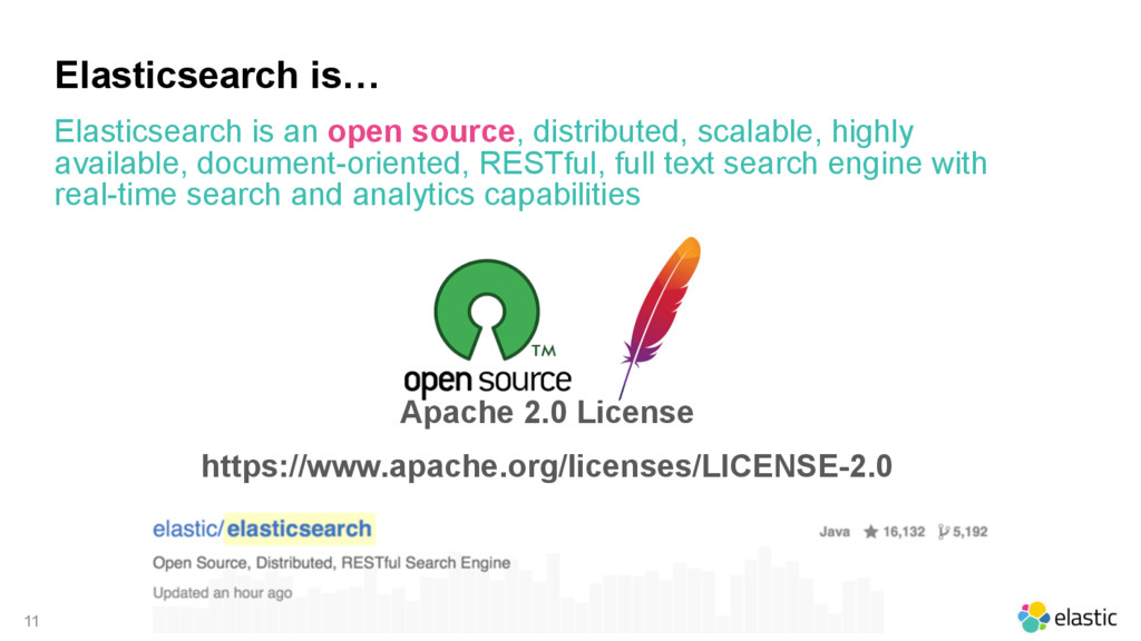 11 Elasticsearch is… Apache 2.0 License https:/...