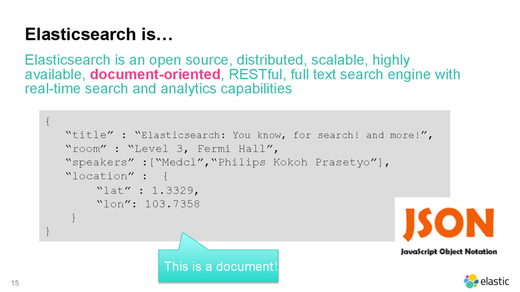 15 Elasticsearch is… Elasticsearch is an open s...