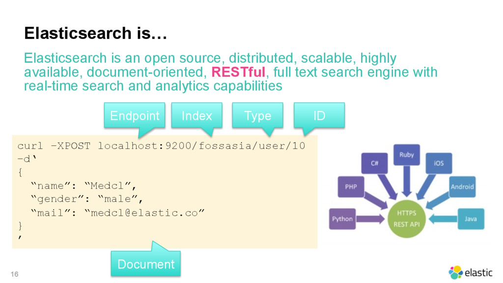 16 Elasticsearch is… Elasticsearch is an open s...