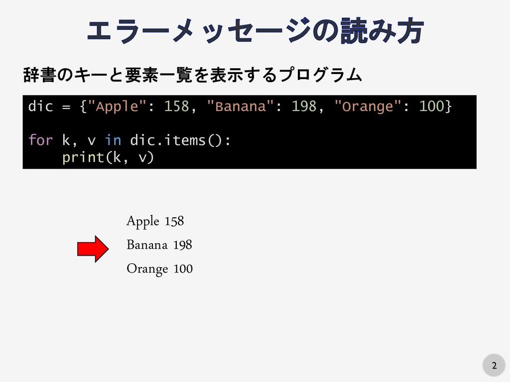 "2 dic = {""Apple"": 158, ""Banana"": 198, ""Orange"":..."
