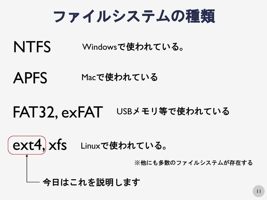 11 ext4, xfs NTFS Windowsで使われている。 Linuxで使われている。...