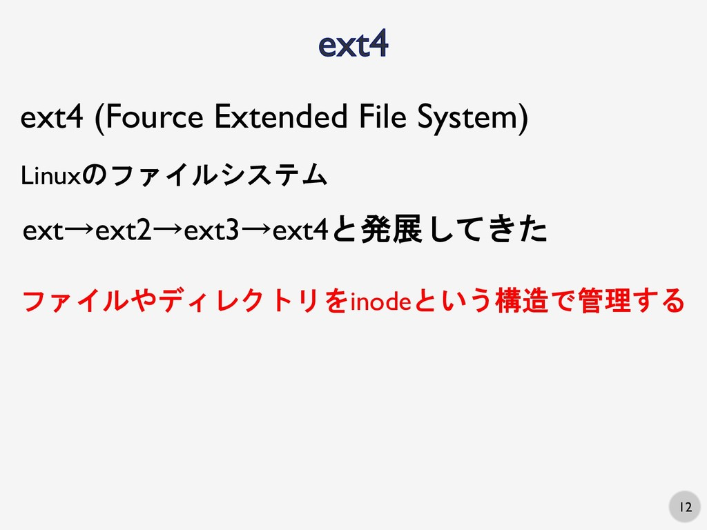 12 ext4 (Fource Extended File System) Linuxのファイ...