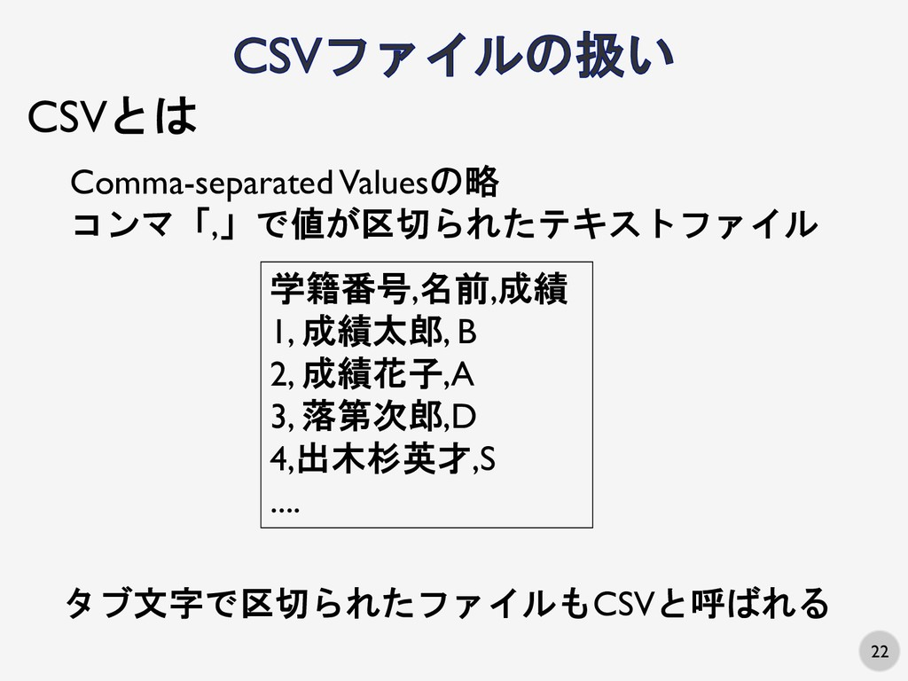 22 CSVとは Comma-separated Valuesの略 コンマ「,」で値が区切られ...
