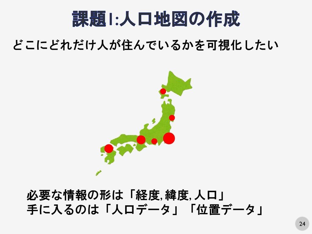 24 どこにどれだけ人が住んでいるかを可視化したい 必要な情報の形は「経度, 緯度, 人口」 ...