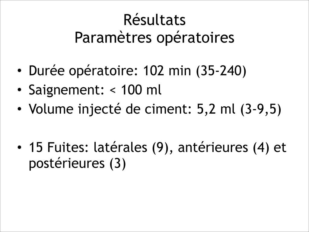 Résultats Paramètres opératoires • Durée opéra...