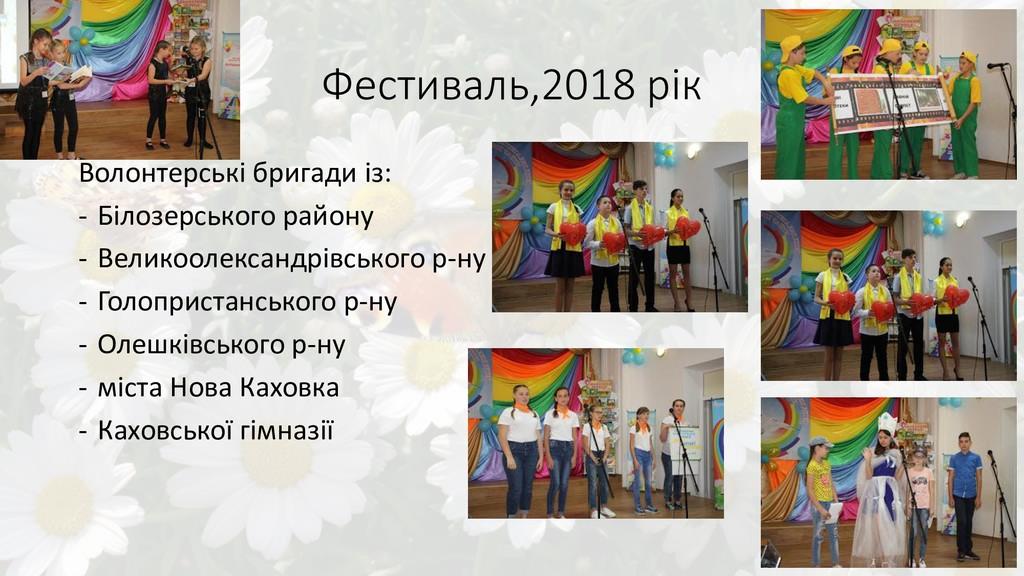 Фестиваль,2018 рік Волонтерські бригади із: - Б...
