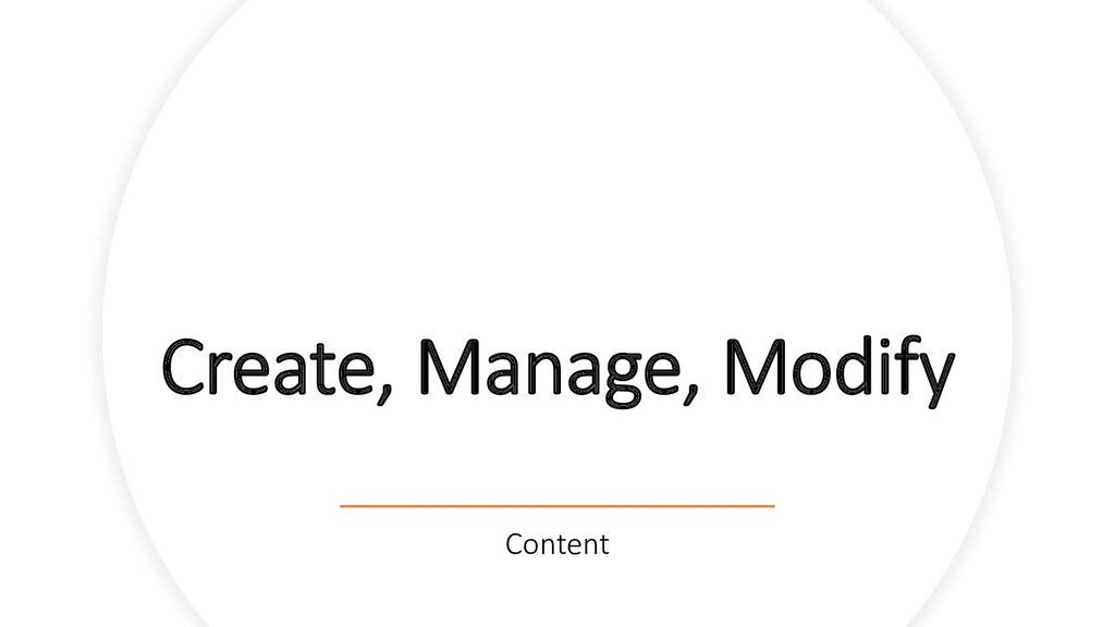 Create, Manage, Modify Content