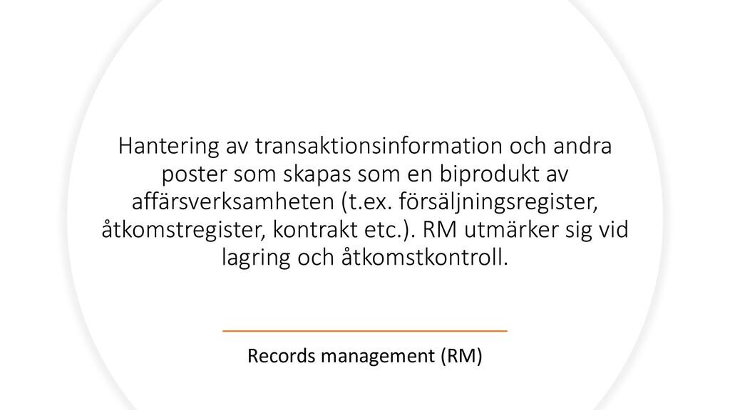 Hantering av transaktionsinformation och andra ...
