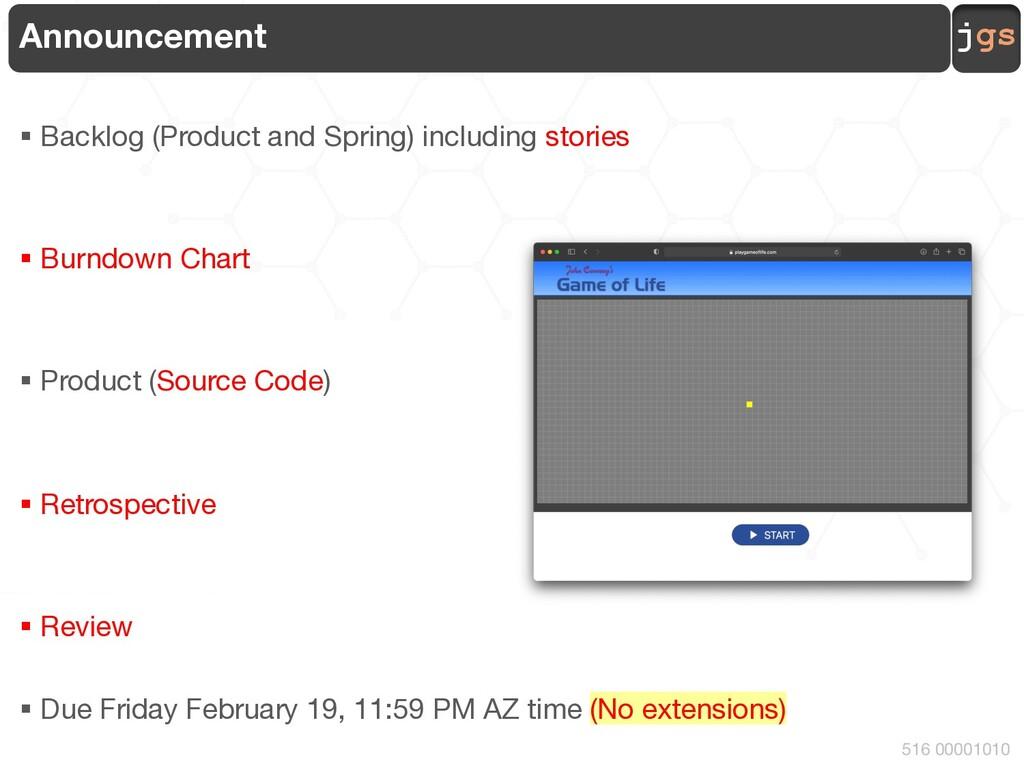 jgs 516 00001010 Announcement § Backlog (Produc...