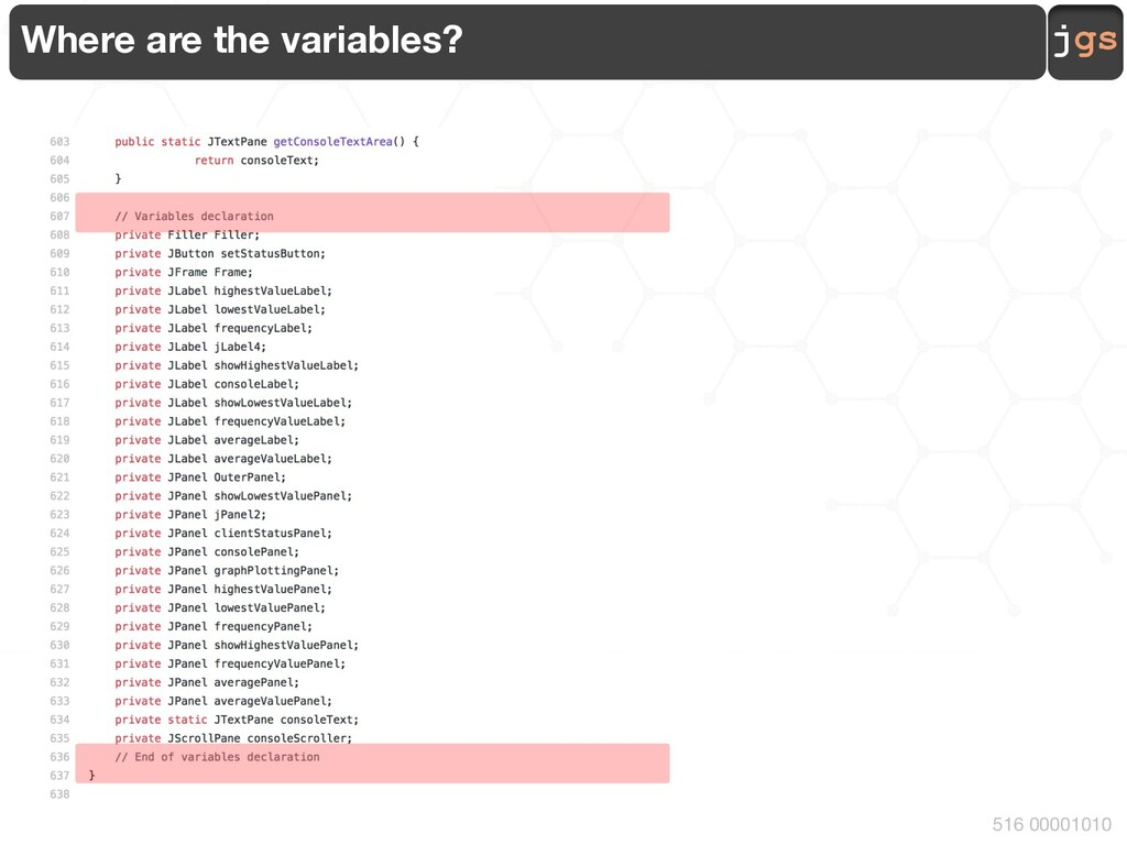 jgs 516 00001010 Where are the variables?