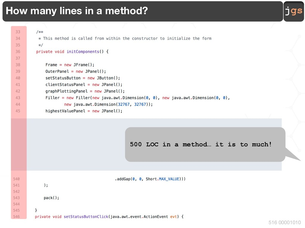 jgs 516 00001010 How many lines in a method? … ...