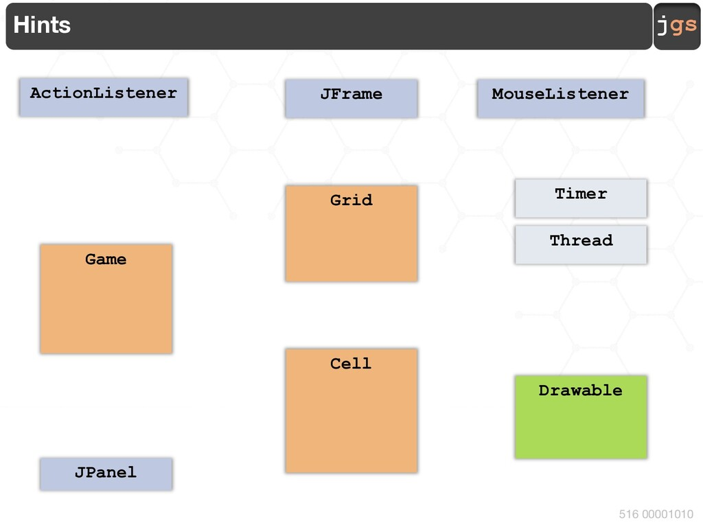 jgs 516 00001010 Hints Timer ActionListener JFr...